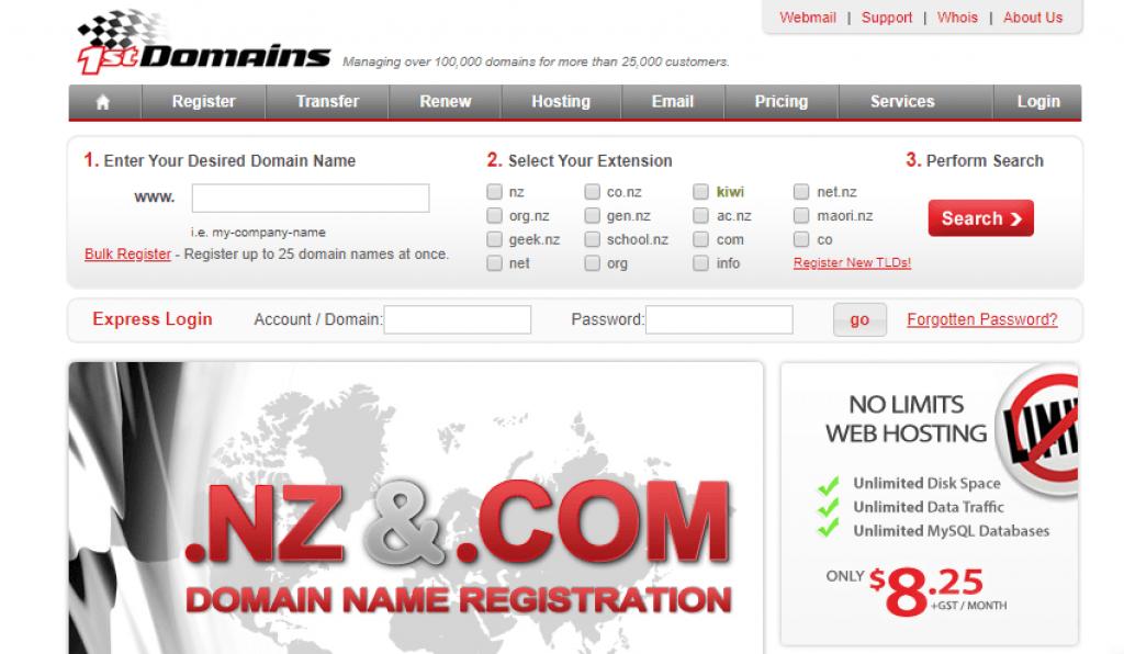 1st domain NZ web hosting