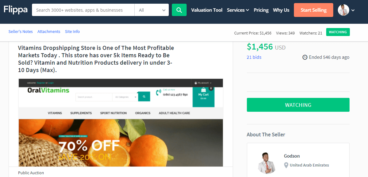 Oral Vitamins - selling a website on flippa