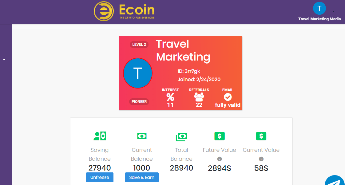 ecoin official current earnings